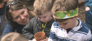 Learning to plant at Audubon Nature Preschool