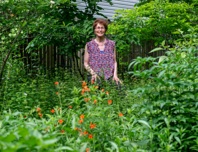 Barbara Schubert in her garden with fire pink native plants. Photo by Ben Israel.
