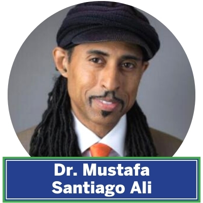 "Dr. Mustafa Santiago Ali serves as the Vice President of Environmental Justice, Climate, and Community Revitalization for the National Wildlife Federation. He is also the founder of Revitalization Strategies, a business focused on moving our most vulnerable communities from ""surviving to thriving."""
