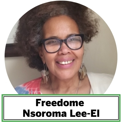 Freedome Nsoroma Lee-El's music always pours forth with improvisational style and soul-searing messages that uplift and inspire reflection, amusement, and deep appreciation. Her vocals travel great depths and heights and exude spirituality, sensibility, creativity, and masterful skill. She commands lyrical content to transform the listening and the listener, like the proverbial showstopper. She has sang lead with or done background vocals with Ralph McDonald, Kimati Dinizulu, Joe Cocker, Sekou Sundiata, Valerie Simpson, Luther Vandross, Whitney Houston, Roberta Flack, Najee, Freddie Jackson, and a host of others.